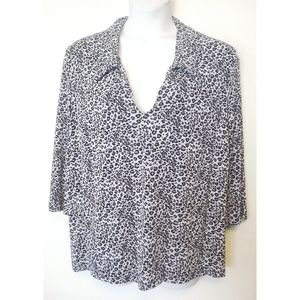 LA Woman Black Blue Knit Leopard L/S Shirt 26 4X